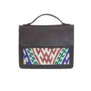 "Moroccan Black Leather ""Mina"" Handbag & Kilim Detail"