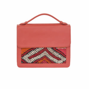 "Moroccan Salmon Color Leather ""Mina"" Handbag & Kilim Detail"