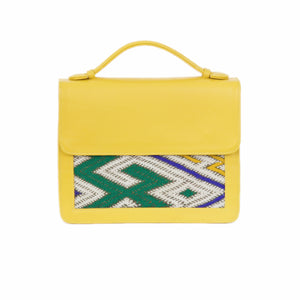 "Moroccan Yellow Leather ""Mina"" Handbag & Kilim Detail"