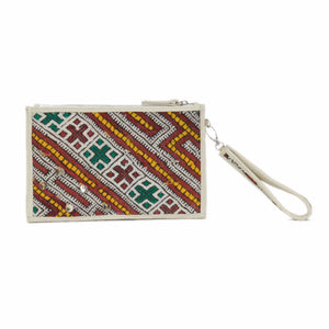 "Moroccan Cream Leather ""Mina"" Envelope Clutch & Kilim Detail"