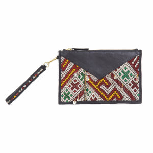 "Moroccan Black Leather ""Mina"" Envelope Clutch & Kilim Detail"