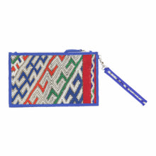 "Moroccan Blue Leather ""Mina"" Envelope Clutch & Kilim Detail"
