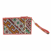 "Moroccan Salmon Colored Leather ""Mina"" Envelope Clutch & Kilim Detail"