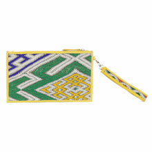 "Moroccan Yellow Leather ""Mina"" Envelope Clutch & Kilim Detail"