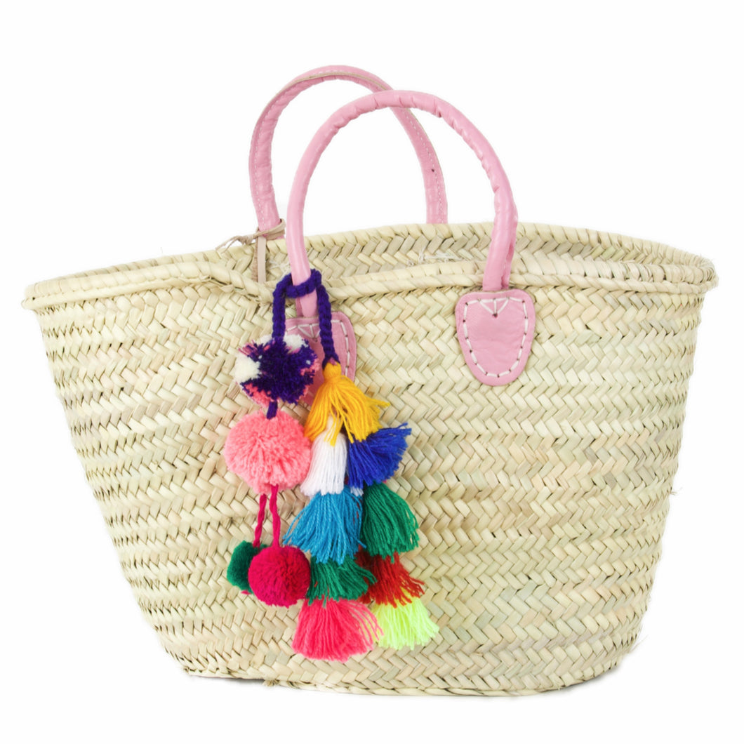 Moroccan Market Basket Pink Leather Handle Multi Color Pom Pom
