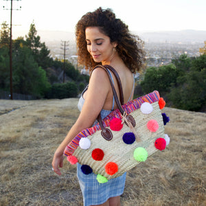 Moroccan Multi Color Pom Pom Market Basket