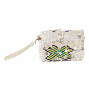 Lala Vintage Moroccan Handira and Leather Wristlet Wallet