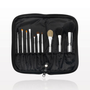 Iridescent Beauty 10pc Signature Silver Brush Set with Zippered Case, Black