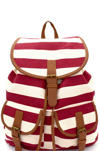 Stripe Print Canvas Drawstring Fashion Backpack