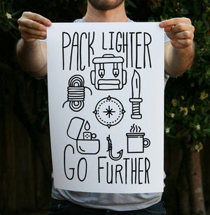 Pack Lighter Go Further 13 x 19 Poster Print