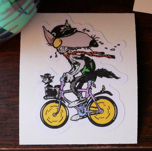 """Captain Kitty & The Wolf""  Die Cut Vinyl Sticker"