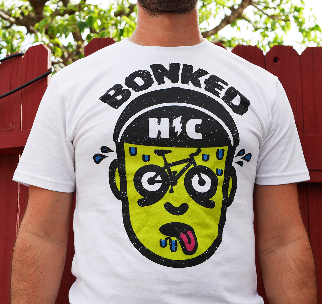 """Bonked"" LIMITED EDITION Color Print White T"