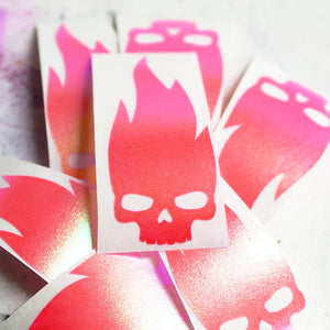 Limited Edition Flaming Skull Vinyl Decal