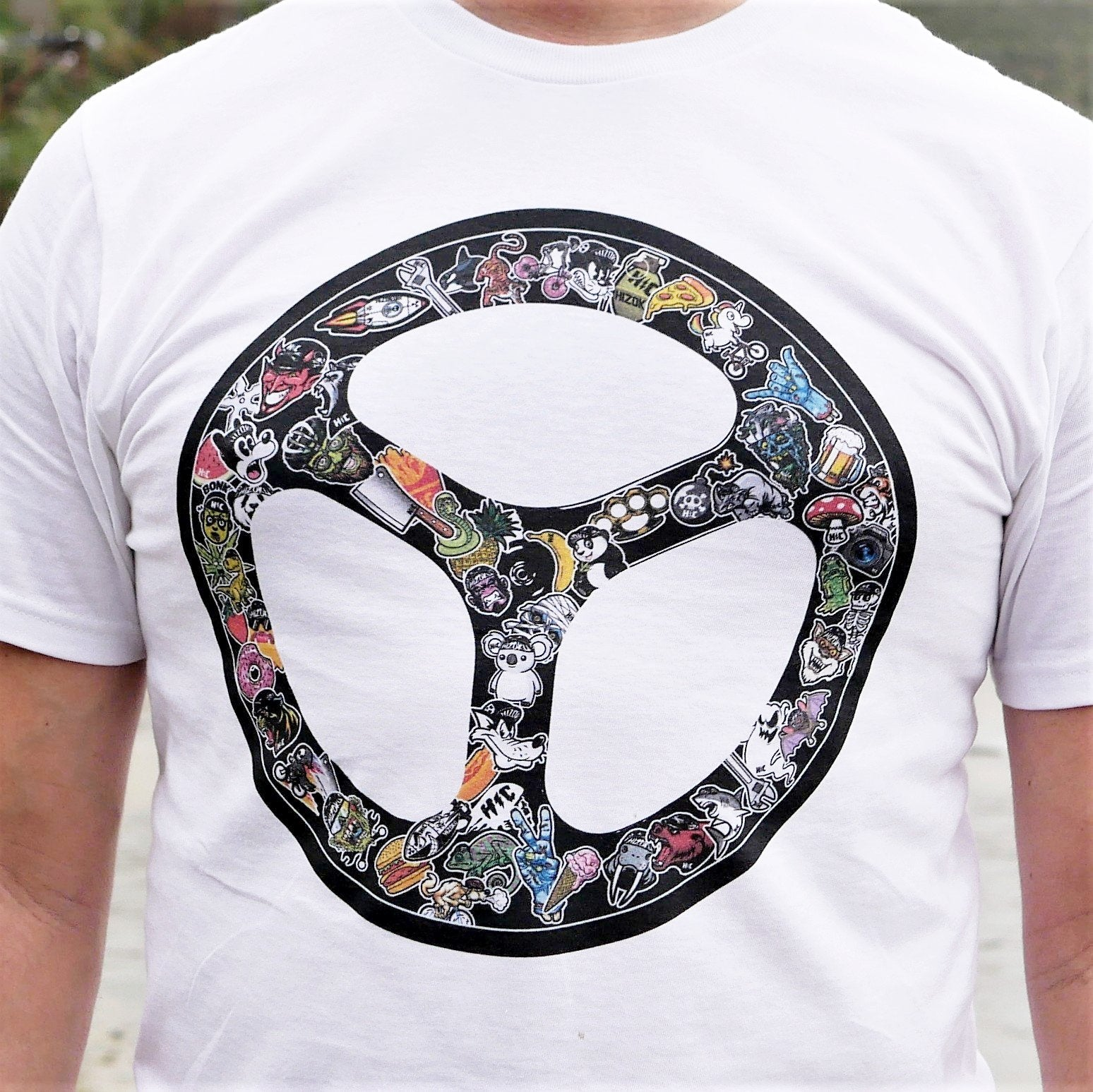 """Sticker Bombed Tri-Spoke"" LIMITED EDITION Color Print White T"