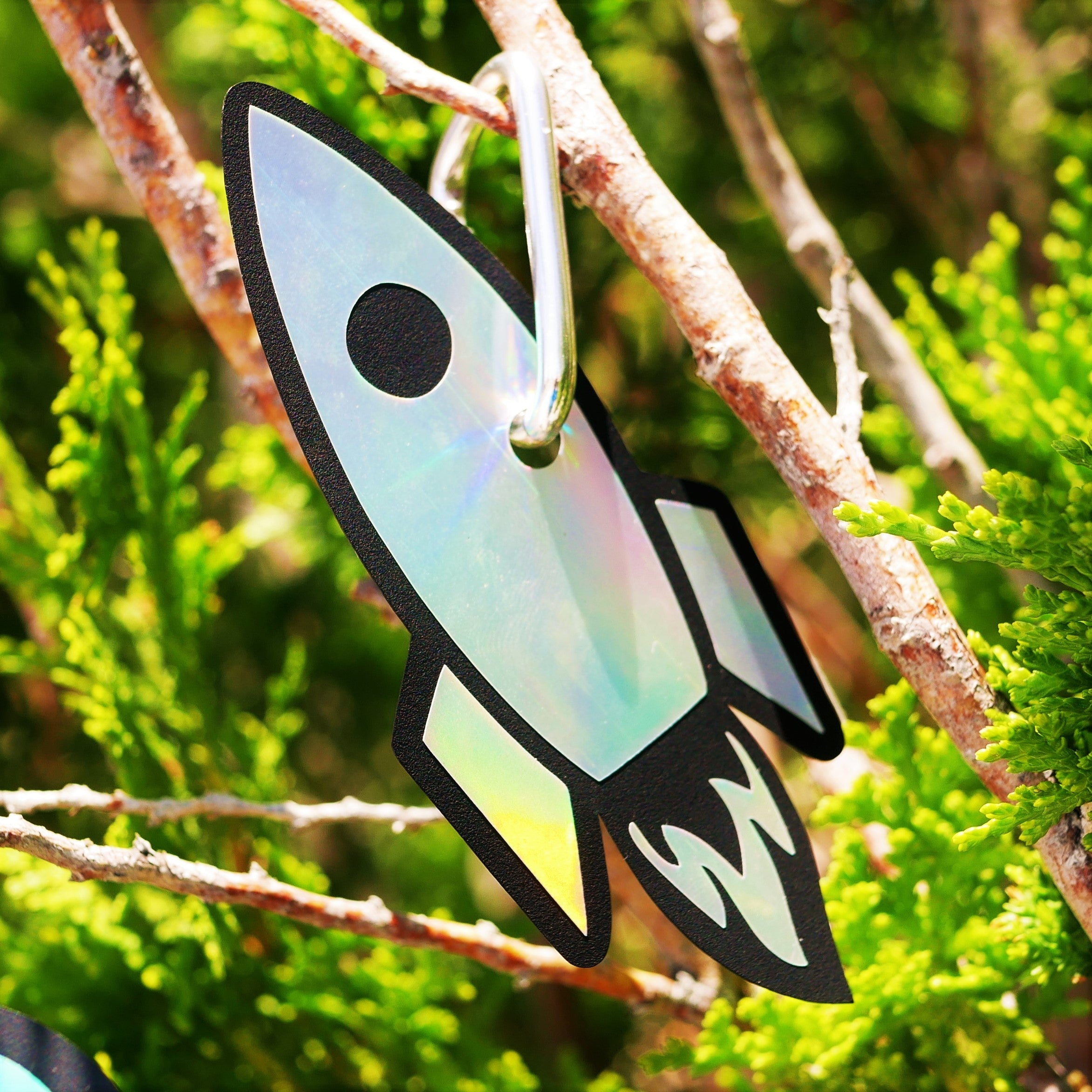 "Limited Edition 2x4"" Rocket Ship Rainbow Holographic Reflector"