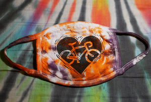 """BIKE LOVE MASK - ORANGE"" Hand-Stamped & Tie-Dyed Cotton Face Mask (Limited Quantity)"