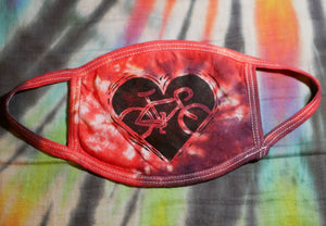 """BIKE LOVE MASK - RED/BLACK CHERRY"" Hand-Stamped & Tie-Dyed Cotton Face Mask (Limited Quantity)"