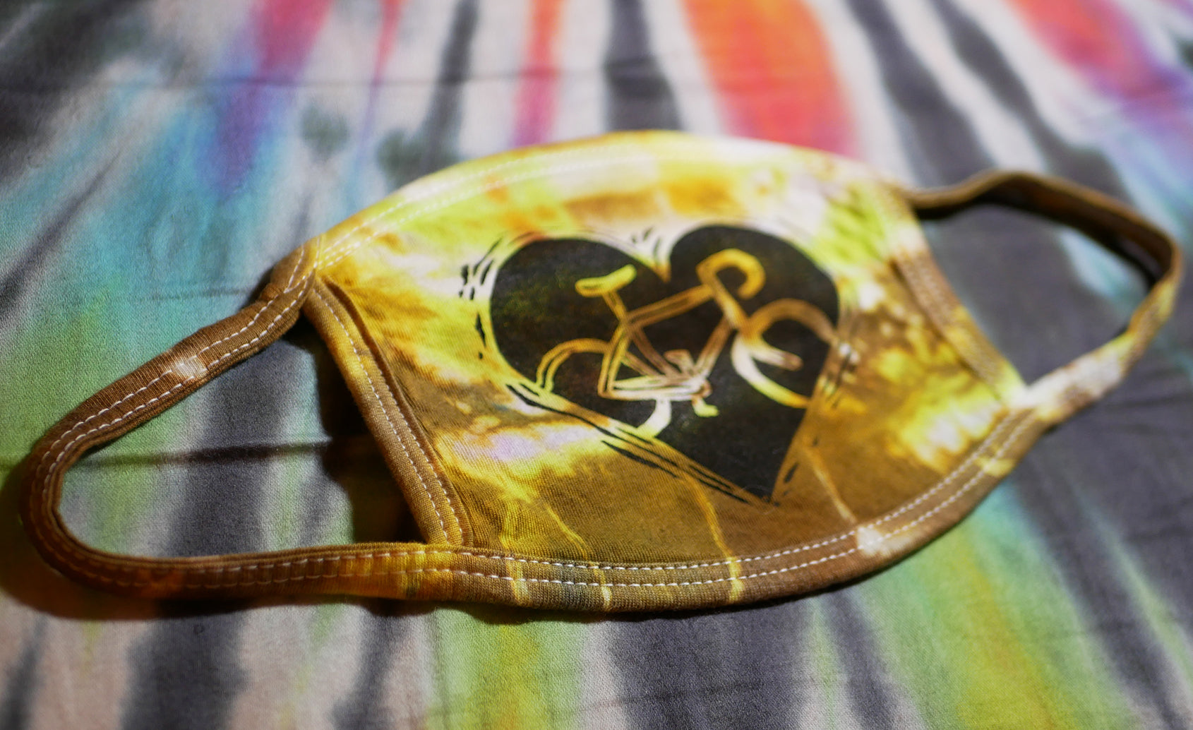 """BIKE LOVE MASK - BRONZE"" Hand-Stamped & Tie-Dyed Cotton Face Mask (Limited Quantity)"