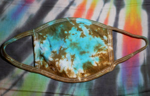 """Turquoise Marble"" Tie-Dye Cotton Face Mask"