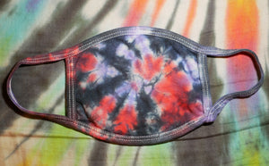 """Red/Purple Spiral"" Tie-Dye Cotton Face Mask"