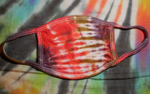 """Red Coral"" Tie-Dye Cotton Face Mask"
