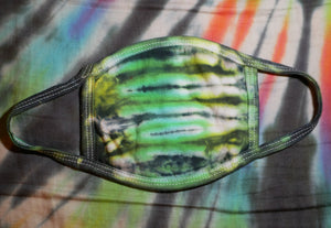 """Green Reptile"" Tie-Dye Cotton Face Mask"