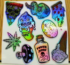 Holo 6in X 6in Munchies Sticker Sheet 9 Pack