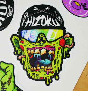Color Green Zombie Cyclist Sticker