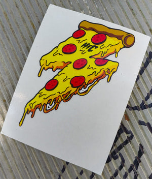 Lightning Pizza Color Die Cut Vinyl Sticker