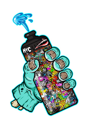 Zombie Sticker Bomb Bottle Color 13 x 19 Poster Print