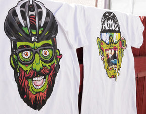 """Hipster Zombie"" Color Print White T"