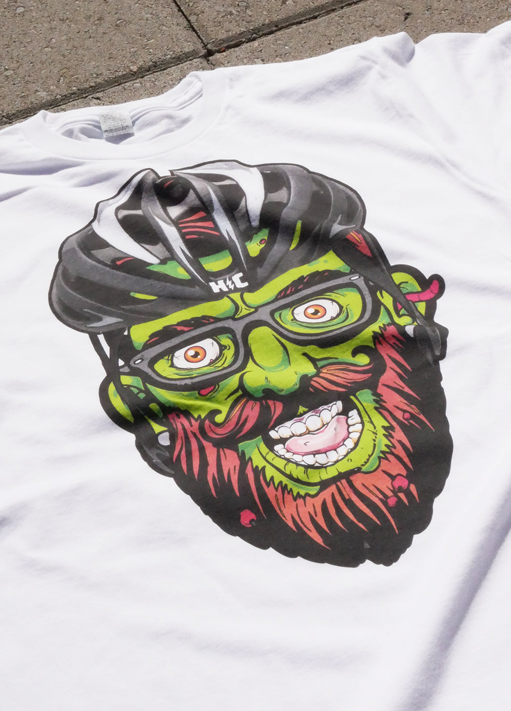 """Hipster Zombie"" LIMITED EDITION Color Print White T"