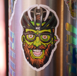 """Undead Hipster Cyclist"" Color Die Cut Vinyl Sticker"