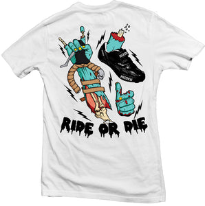 Ride or Die Color Print White T