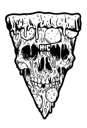 Pizza Skull Black & White 13 x 19 Poster Print