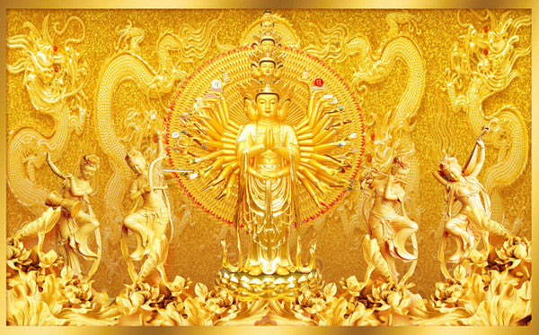 Golden Buddha Wallpaper Art