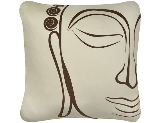 Buddha Throw Pillow Om Organic Cotton Throw Pillow Cover Asian 18 x 18 Inch