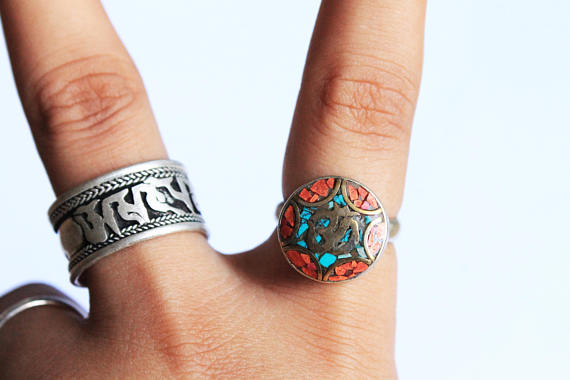 Om Ring Yoga Jewelry Mosaic Ring