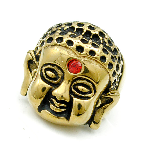 Red Crystal Rhinestone Buddha Mantra Ring