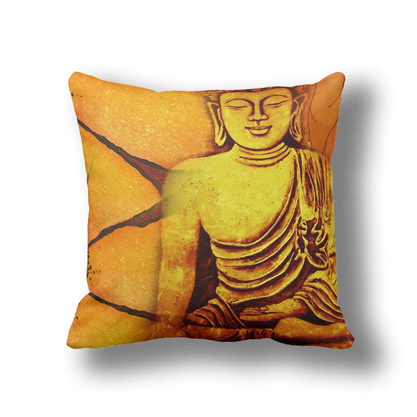 Gold/Yellow Bodhi Buddha 3D Printing Vintage Pillows 50*50CM,