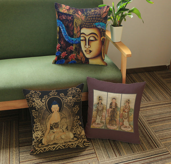 Tibetan Throw Pillow - Asian Figure Pillow