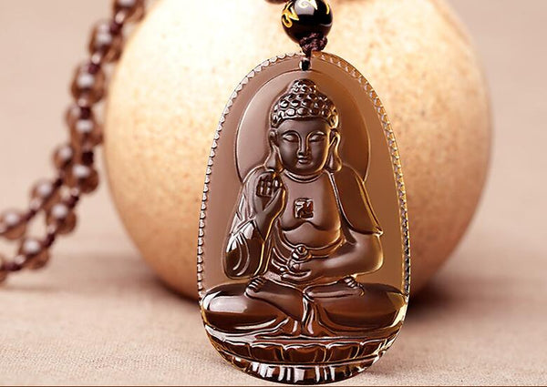 Natural Ice  Carved  Buddha Amulet Pendant Necklace