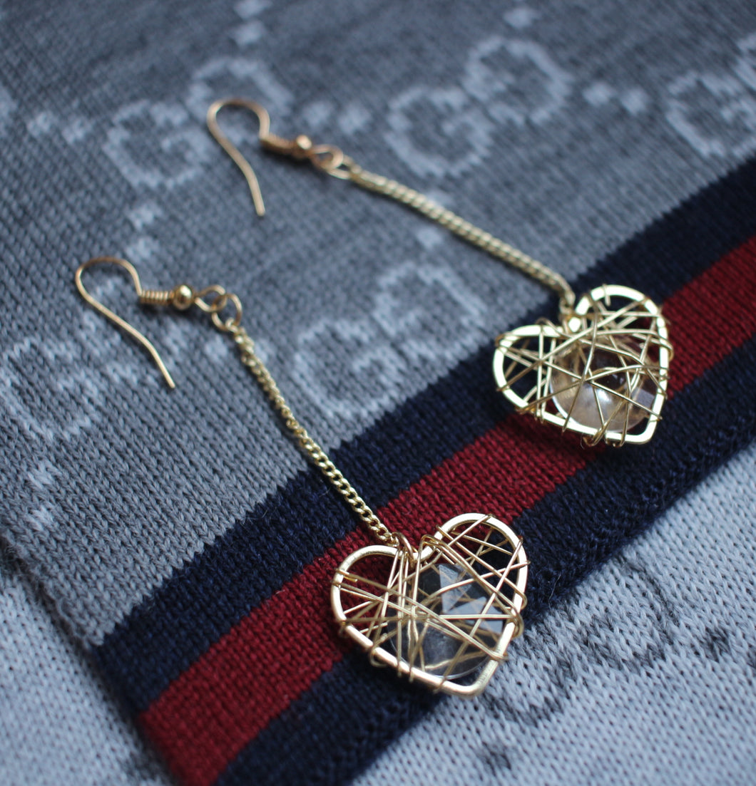 Heart Drop Earrings (09-J120)