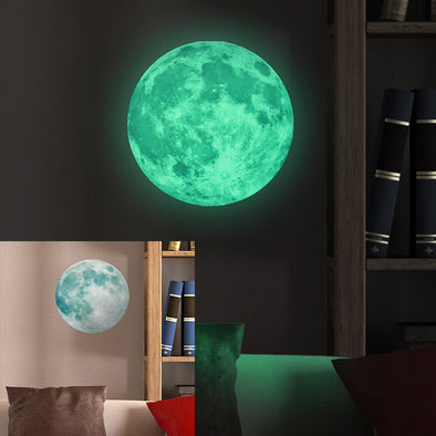 30cm Large Moon Glow in the Dark Luminous DIY Wall Sticker - BG's Cool Nerd