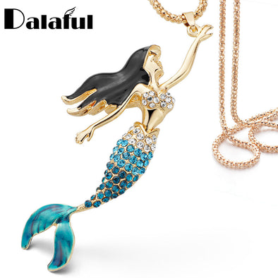 Enamel Crystal Mermaid Rhinestone Necklace - BG's Cool Nerd