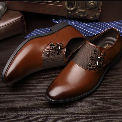 Leather Oxford Men's Business Dress Shoes - BG's Cool Nerd