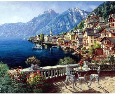 Austria Town Landscape DIY Painting By Numbers - BG's Cool Nerd