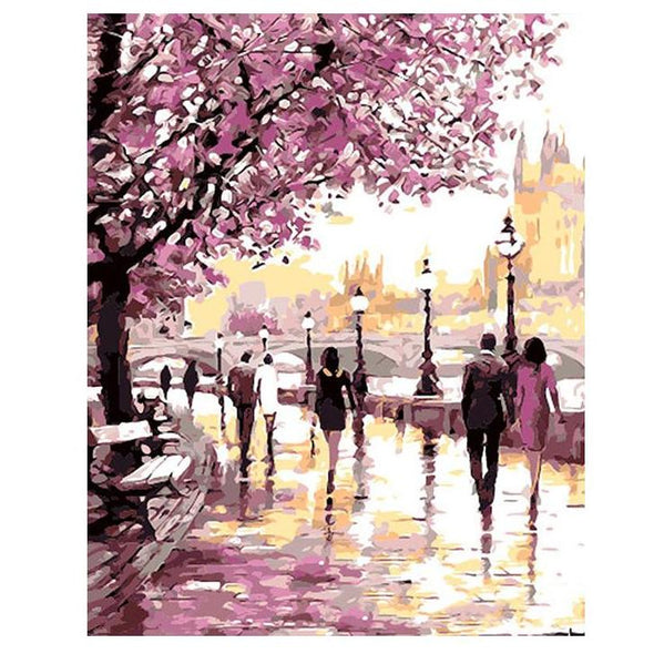Cherry Blossoms Road Diy Oil Painting By Numbers - BG's Cool Nerd