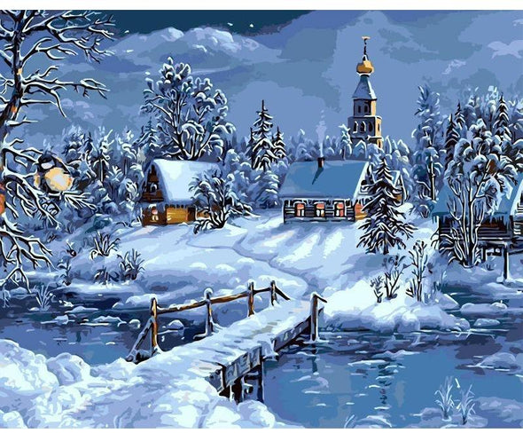 Christmas Snow Landscape DIY Painting By Numbers - BG's Cool Nerd