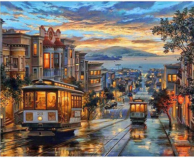San Francisco City Night Bus Diy Digital Oil Painting